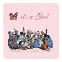 ANIMAL FARM ORCHESTRA BUTTERFLY GIRL BABY SHOWER CARD