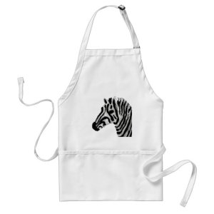Animal Print Black and White Zebra Adult Apron