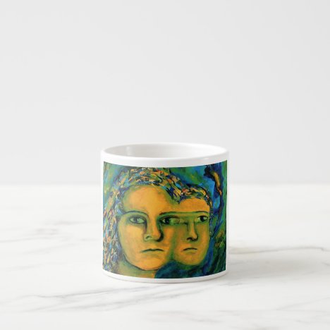 Anticipation - Gold and Emerald Goddess Espresso Cup