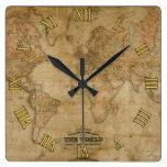 Antique Old World Map History Designer Clock