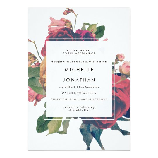 Vintage Wedding Invitation With Fl Details