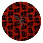 Antique Skulls Pattern Vintage Rustic Red Orange Large Clock