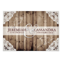 Antique White Lace Wedding Invitation
