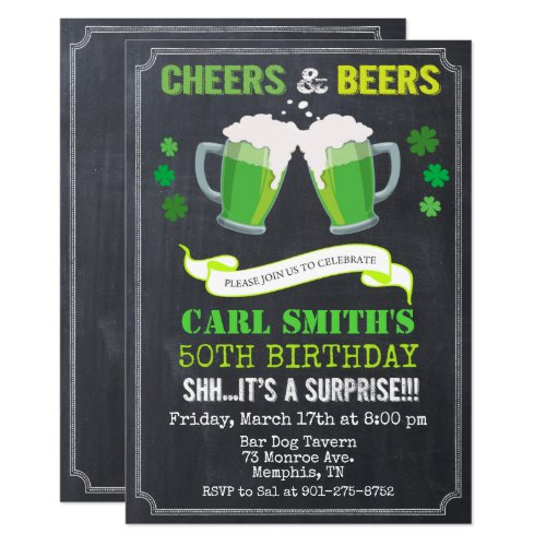 ANY AGE - Cheers & Beers Birthday Invitation