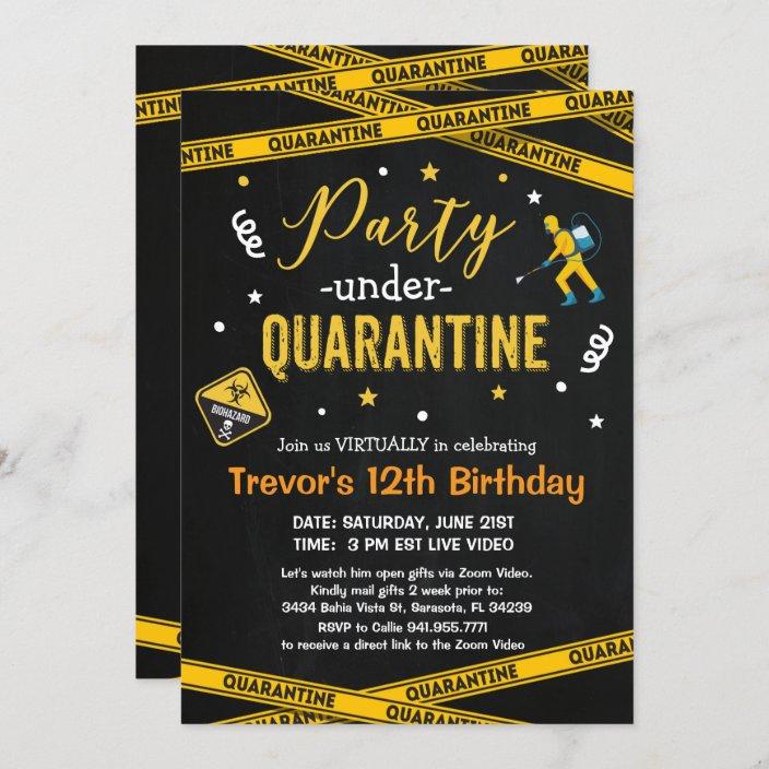 any age quarantine birthday party virtual birthday invitation zazzle com
