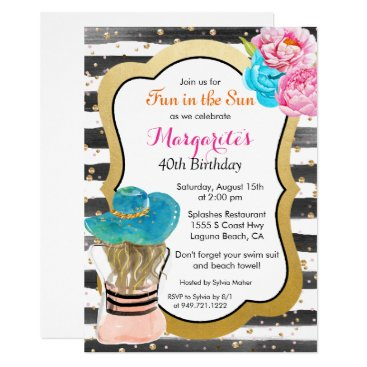 ANY EVENT - Watercolor Stripe Floral Invitation