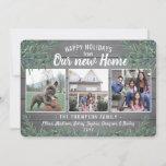 Any Text 4 Photo New Home Farmhouse Greenery Wood Holiday Card