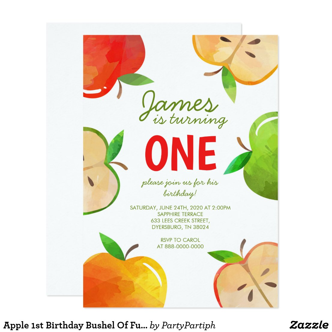 Apple 1st Birthday Bushel Of Fun Birthday Invitation