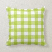 Apple Green Preppy Buffalo Check Plaid Throw Pillow