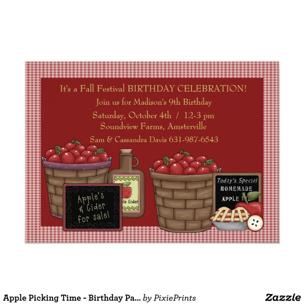 Apple Picking Time - Birthday Party  Invitation