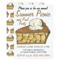 Apple Pie Slice a la Mode Ice Cream Dessert Picnic Card
