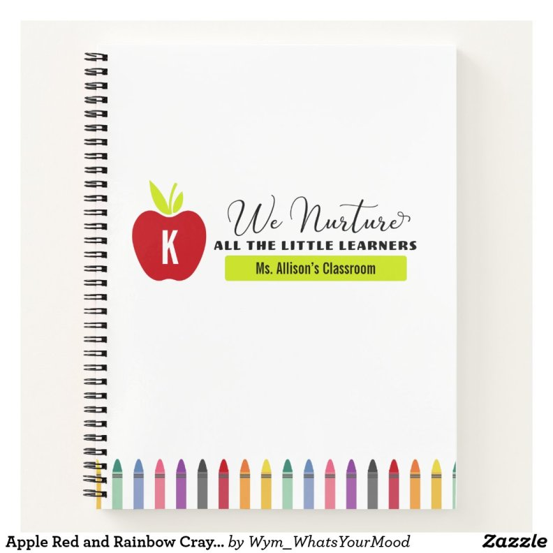 Apple Red and Rainbow Crayon Elementary Teacher's Notebook