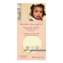 Owls Girls Birthday Party Premium Invite Custom Photo Card