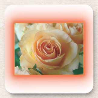 Apricot Rose Blur Beverage Coaster