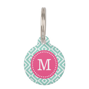 Aqua and Pink Ikat Diamonds Monogram Pet Tag