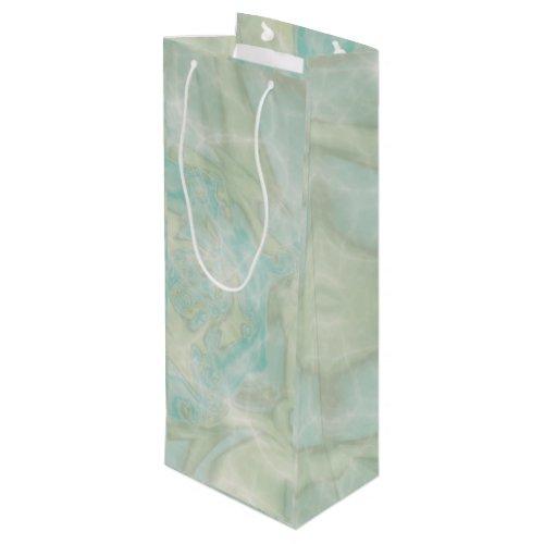 Aqua and Turquoise Tall Wine Gift Bag