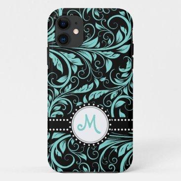 Aqua Blue and black damask with monogram iPhone 11 Case