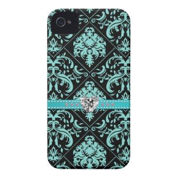 Aqua Blue and Black Damasked Pattern w/ Diamonds iPhone 4 Case