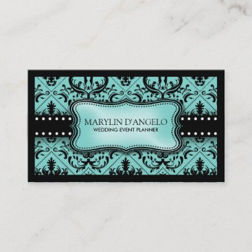 Aqua Blue and Black Vintage Damask Wedding Planner Business Card