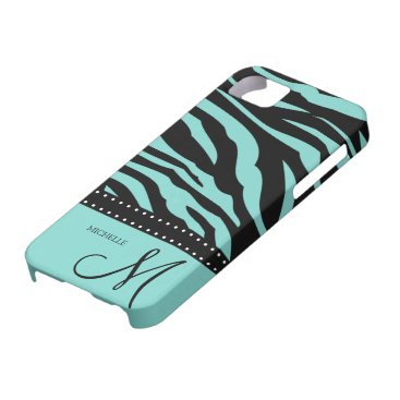 Aqua Blue and Black Zebra Patterns iPhone SE/5/5s Case