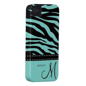 Aqua Blue and Black Zebra Patterns Case-Mate iPhone 4 Case