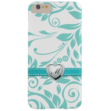 Aqua Blue and White Damask Pattern with Monogram Barely There iPhone 6 Plus Case