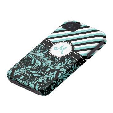 Aqua Blue and White Damask with stripes & monogram iPhone 4 Case