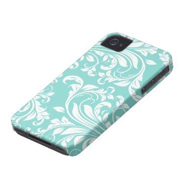 Aqua Blue and White Damasked Pattern iPhone 4 Case