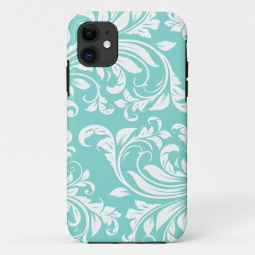 Aqua Blue and White Damasked Pattern iPhone 11 Case
