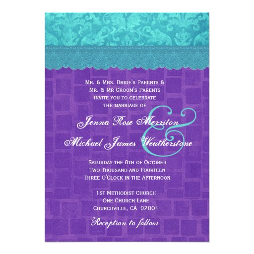 Personalized Purple And Turquoise Wedding Invitations