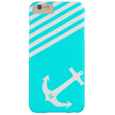 Aqua Blue Nautical Anchor with Monogram Barely There iPhone 6 Plus Case