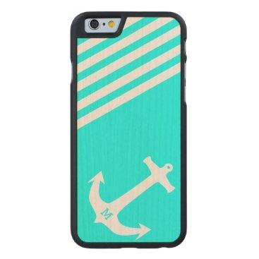 Aqua Blue Nautical Anchor with Monogram Carved Maple iPhone 6 Slim Case