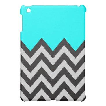 Aqua Blue with Black and Gray Chevron iPad Mini Case