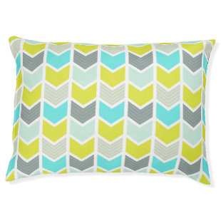 Aqua Blue Yellow Gray Geometric Chevron Pattern Large Dog Bed