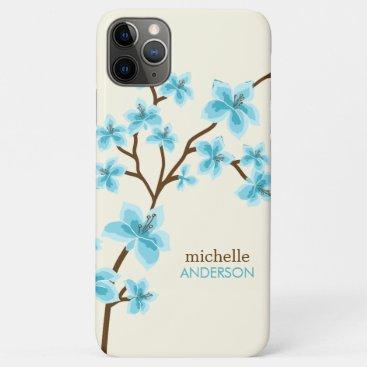 Aqua Cherry Blossoms Tree iPhone 11 Pro Max Case