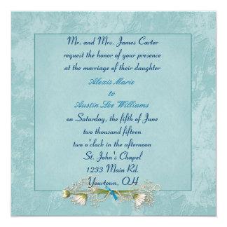 Embossed Dahlia Wedding Invitations