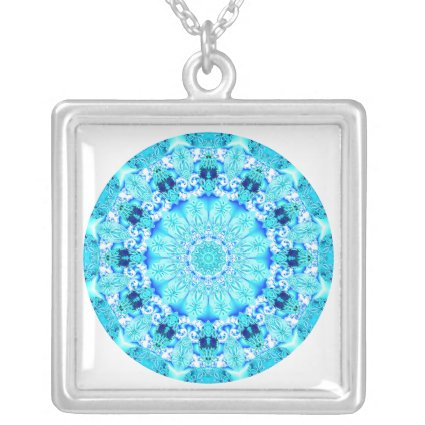 Aqua Lace Mandala, Delicate, Abstract Custom Necklace