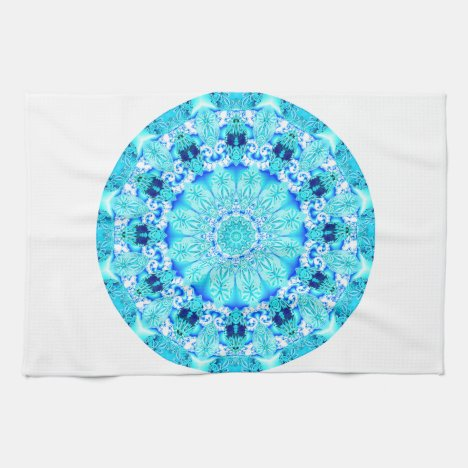 Aqua Lace Mandala, Delicate, Abstract Towel