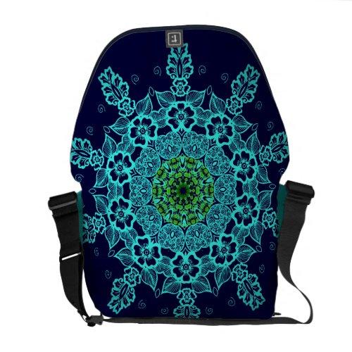 Aqua Mandala Pattern messenger bags rickshaw_messengerbag