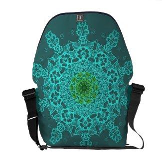 Aqua Mandala Pattern messenger bags
