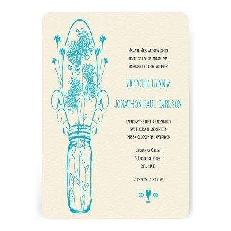 Aqua Ocean Blue Mason Jar Wild Flower Wedding Custom Invite