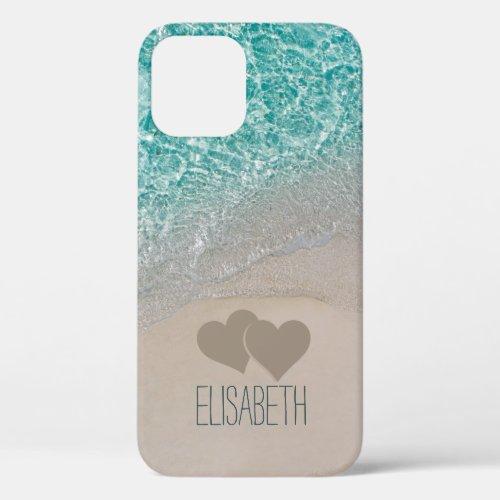 Aqua Ocean Sand Carved Hearts Add Name iPhone 12 Case