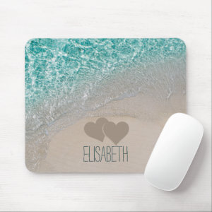 Aqua Ocean Sand Carved Hearts Add Name Mouse Pad
