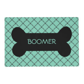Aqua Paw & Bone Design Personalized Pet Placemat Laminated Placemat