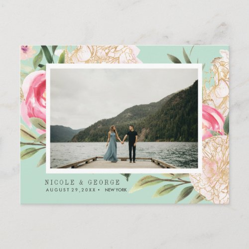 Aqua Peony and flowers Photo WEDDING SAVE THE DATE Announcement Postcard