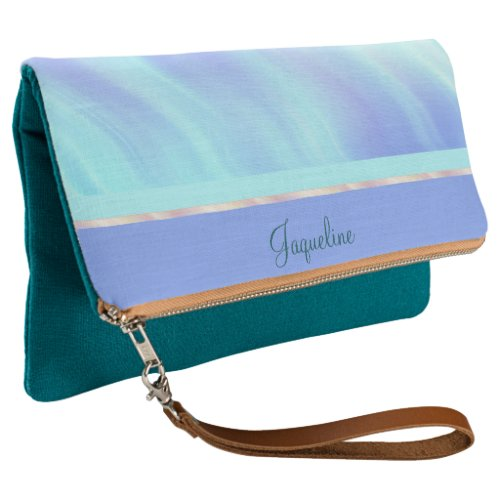 Aqua Teal Periwinkle Waves Clutch