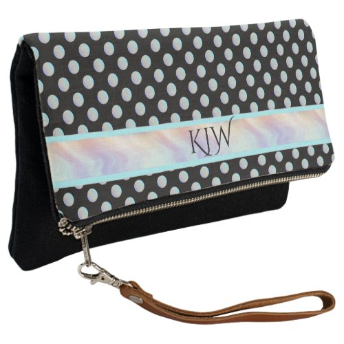 Aqua Teal Rose Dots Monogram Clutch