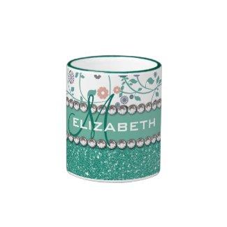 Aqua Turqoise Monogram Flower Glitter Pattern Mug