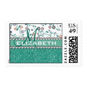 Aqua Turqoise Monogram Flower Glitter Pattern Postage Stamp