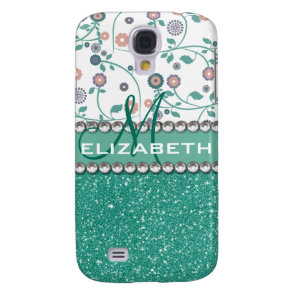 Aqua Turqoise Monogram Flower Glitter Pern Galaxy S4 Cover